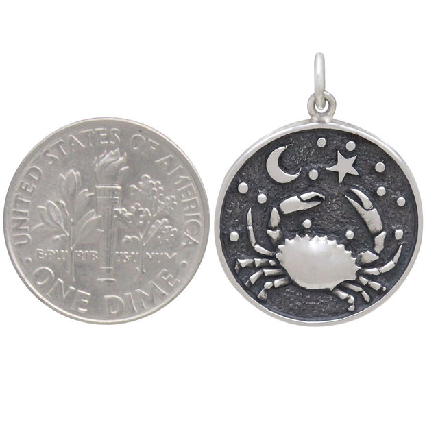 Sterling Silver Astrology Cancer Pendant - Poppies Beads n' More