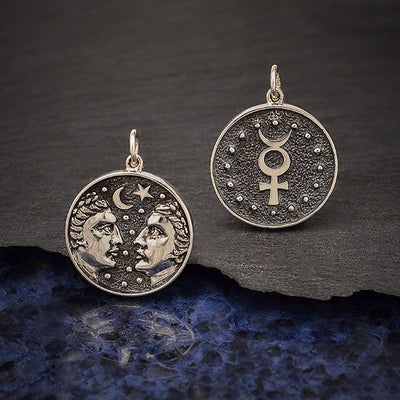 Sterling Silver Astrology Gemini Pendant - Poppies Beads n' More