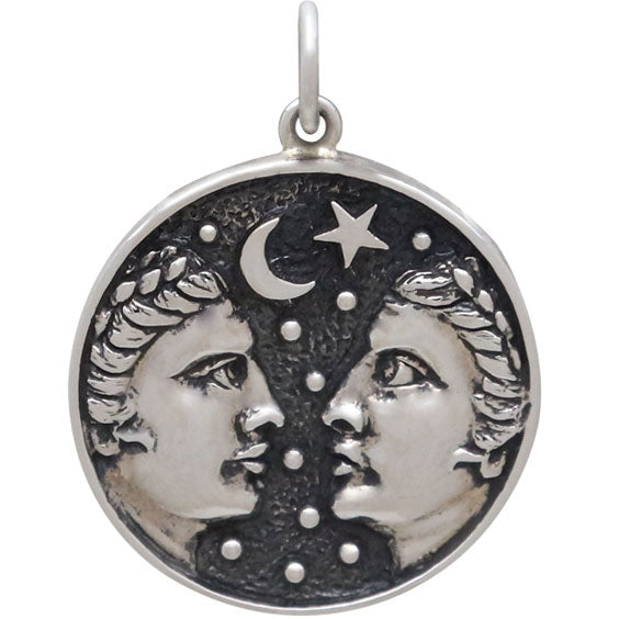 Sterling Silver Astrology Gemini Pendant,