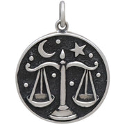 Sterling Silver Astrology Libra Pendant - Poppies Beads n' More