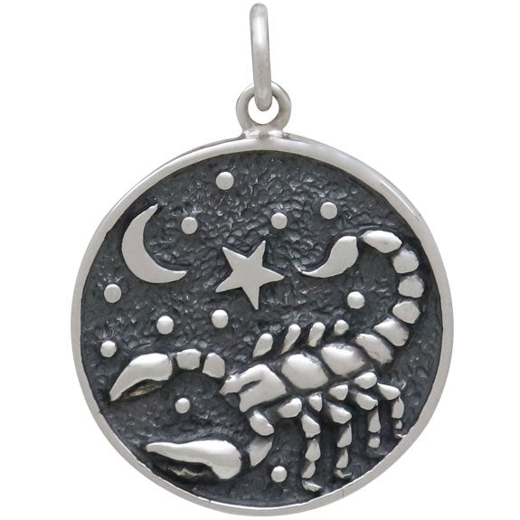 Sterling Silver Astrology Scorpio Pendant - Poppies Beads n' More