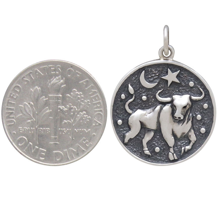 Sterling Silver Astrology Taurus Pendant,