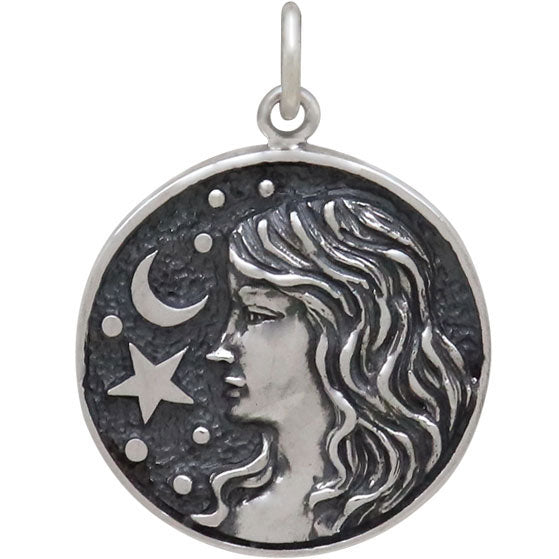 Sterling Silver Astrology Virgo Pendant - Poppies Beads n' More
