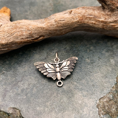 Sterling Silver Butterfly Moth Link - Poppies Beads n' More