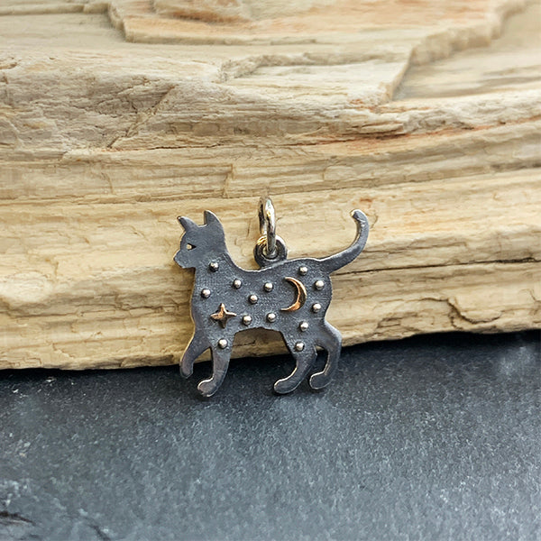 Sterling Silver Cat Charm with Bronze Star and Moon