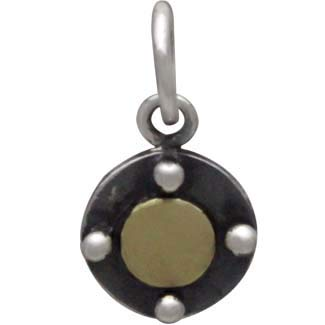 Sterling Silver Circle Charm with Bronze Dot,