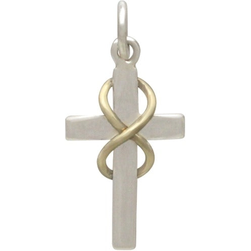 Sterling Silver Cross Charm with Bronze Infinity,