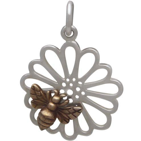 Sterling Silver Daisy Charm with Bronze Bee,