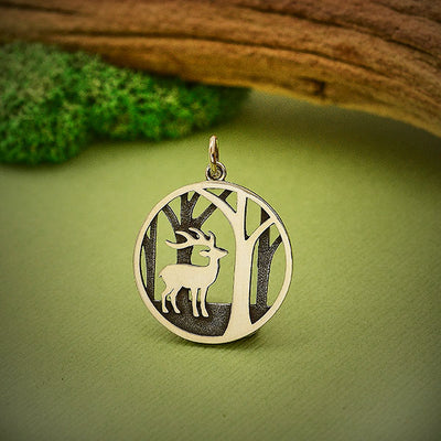 Sterling Silver Deer Charm with Trees