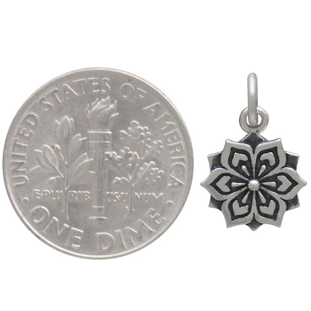 Sterling Silver Flower Mandala Charm - Poppies Beads n' More