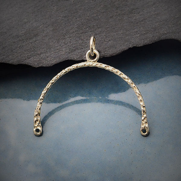 Sterling Silver Hammered Arch Link with Center Loop,