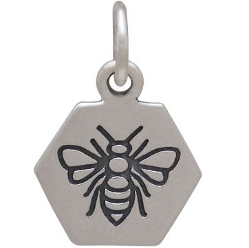 Sterling Silver Hexagon Charm with Etched Bee, Nina Designs