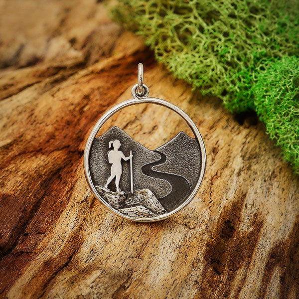 Sterling Silver Hiking Girl Charm - Poppies Beads n' More