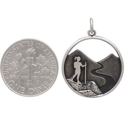 Sterling Silver Hiking Girl Charm