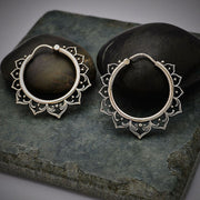 Sterling Silver Hollow Lotus Hoop Earrings,