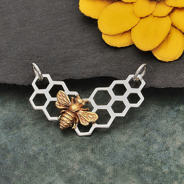 Sterling Silver Honeycomb Festoon with Bronze Bee, Nina Designs