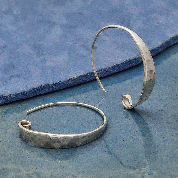 Sterling Silver Hoop Ear Wire with Hammered Front