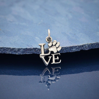 Sterling Silver Love Charm with Pawprint