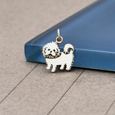 Sterling Silver Maltese Dog Charm - Poppies Beads n' More