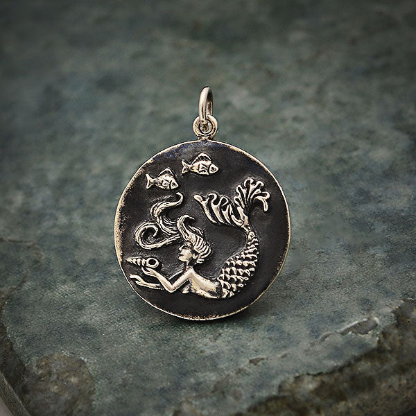 Sterling Silver Mermaid Coin Charm,