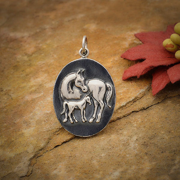 Sterling Silver Mom and Baby Horse Pendant