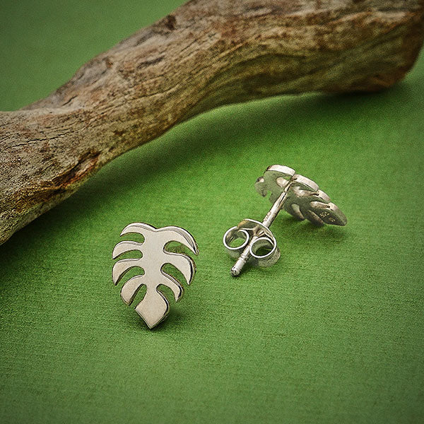 Sterling Silver Monstera Stud Earrings,