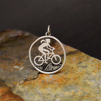 Sterling Silver Mountain Biker Girl Charm - Poppies Beads n' More