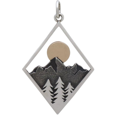 Sterling Silver Mountain Charm in Diamond Frame