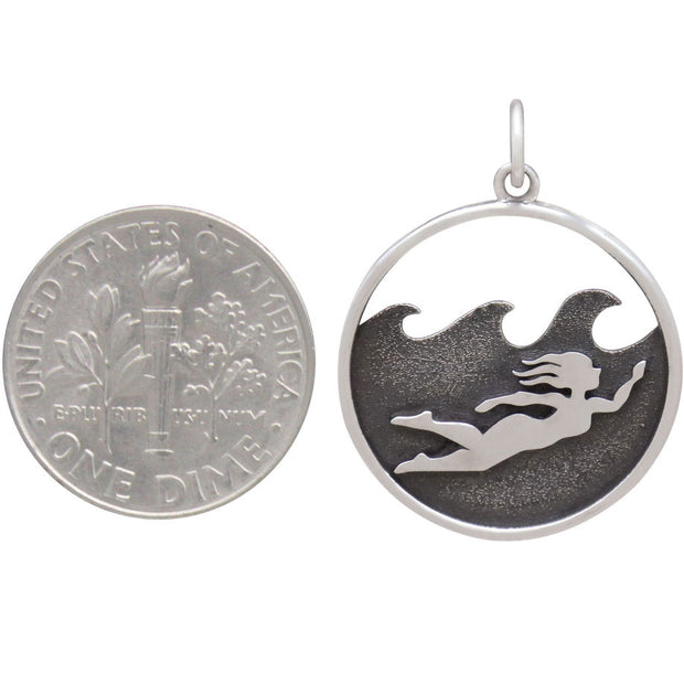 Sterling Silver Ocean Swimming Girl Charm - Poppies Beads n' More