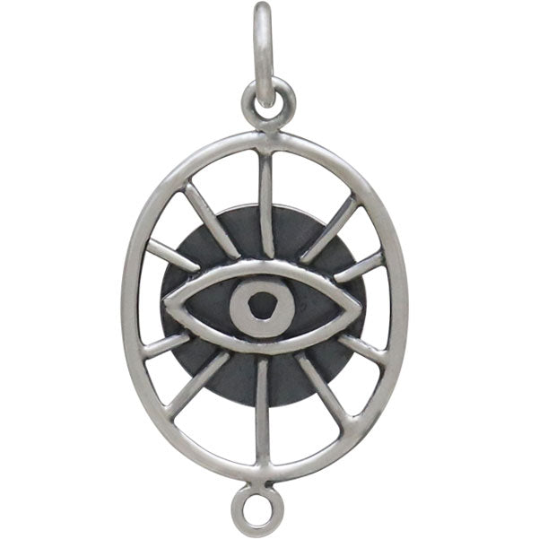 Sterling Silver Oval Evil Eye Link,