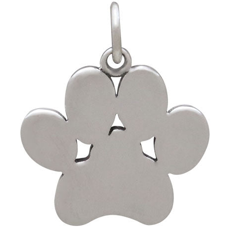 Sterling Silver Paw Print Pendant - Poppies Beads n' More