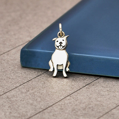 Sterling Silver Pitbull Dog Charm - Poppies Beads n' More
