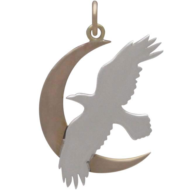 Sterling Silver Raven Charm with Bronze Moon,