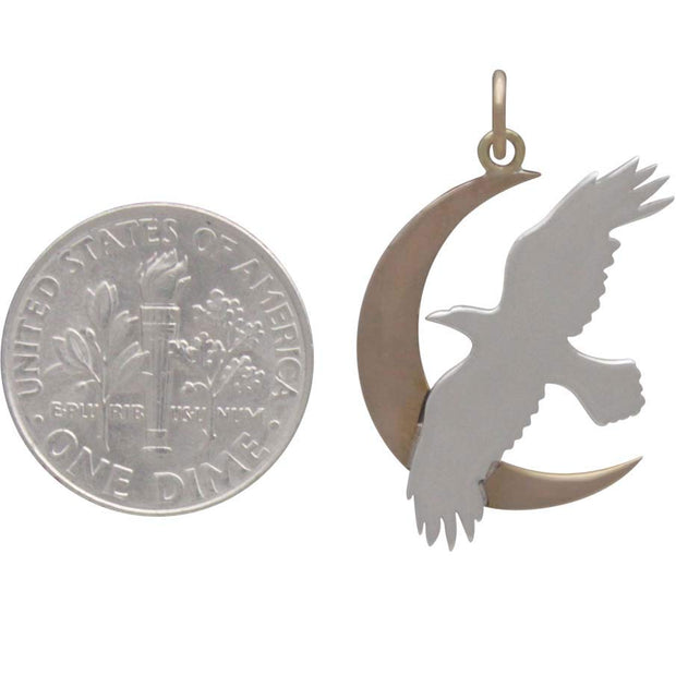 Sterling Silver Raven Charm with Bronze Moon - Poppies Beads n' More