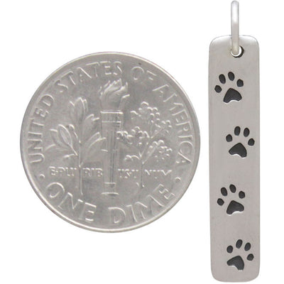 Sterling Silver Rectangle Charm with 4 Paw Prints,