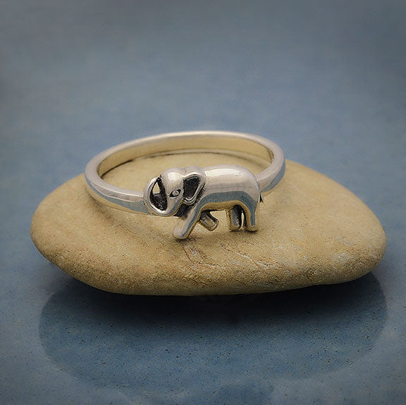 Sterling Silver Ring with Single Elephant,