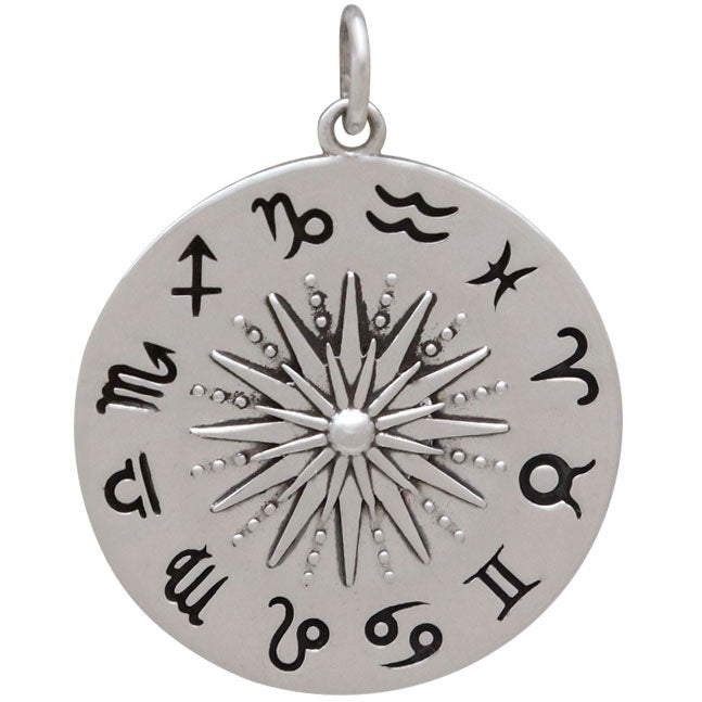 Sterling Silver Sun Pendant with Zodiac Signs, Nina Designs