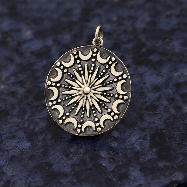 Sterling Silver Sun and Moon Mandala Pendant,