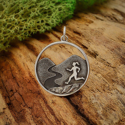 Sterling Silver Trail Running Girl Charm - Poppies Beads n' More