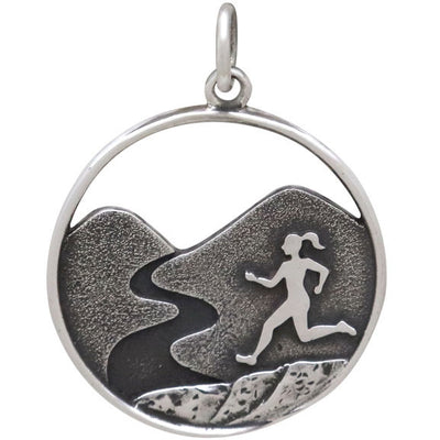 Sterling Silver Trail Running Girl Charm