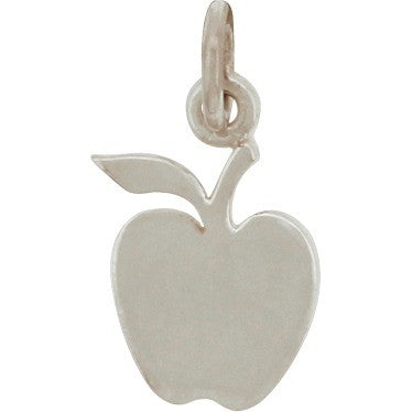 Sterling Silver Apple Charm - Food Charm,