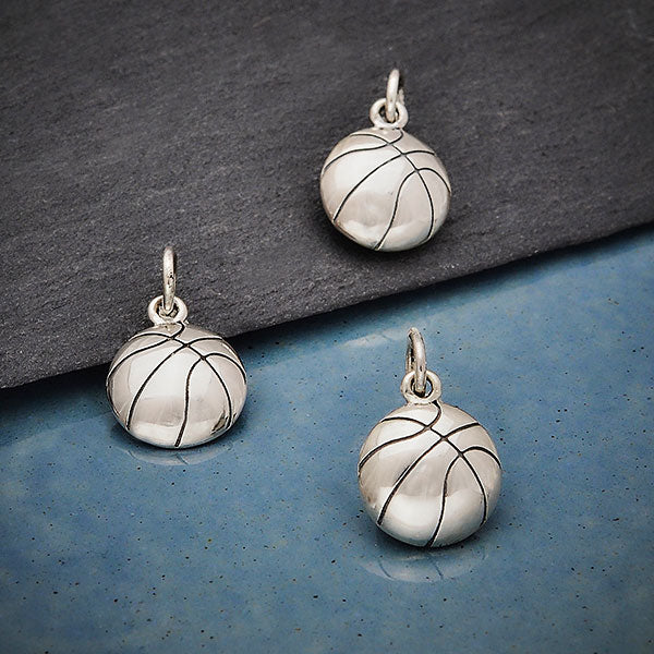 Sterling Silver Basketball Charm,