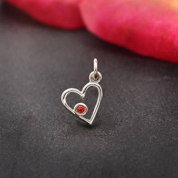Sterling Silver Birthstone Heart Charm -January Garnet, Nina Designs