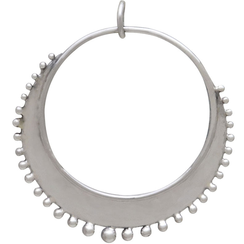 Sterling Silver Circle Charm with Granulation Drops, Nina Designs