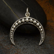Sterling Silver Crescent Moon Charm with Granulation - Poppies Beads n' More