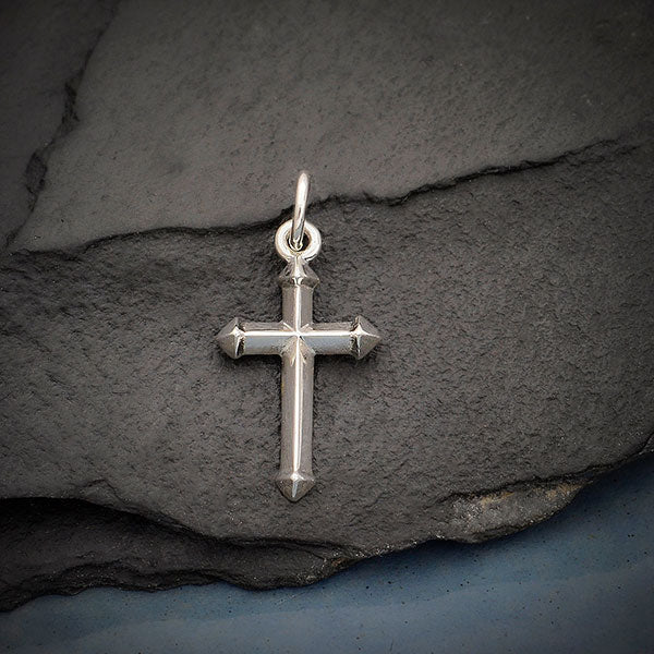 Sterling Silver Cross Charm with Faceted Edges