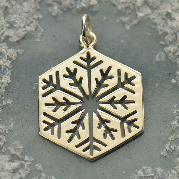 Sterling Silver Cut Out Snowflake Charm - Large - Poppies Beads n' More
