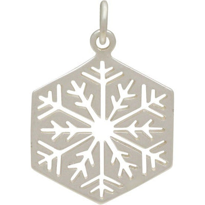 Sterling Silver Cut Out Snowflake Charm - Large,