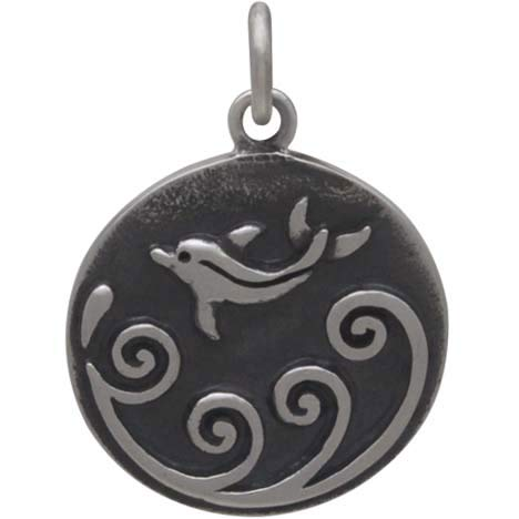 Sterling Silver Dolphin Charm with Waves, Nina Designs