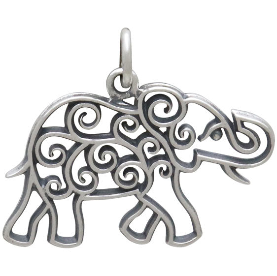 Sterling Silver Elephant Charm with Scrollwork